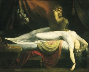 Nightmares were evil spirits that would torture the dreams of people, and often thought to be the cause of guilt or anxiety.